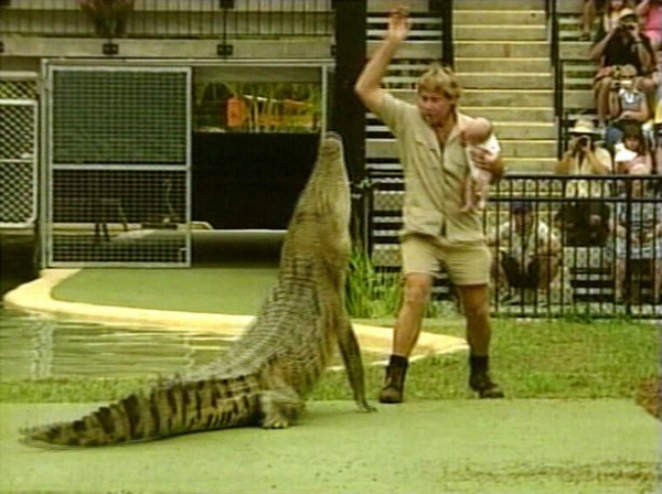 steve irwin holds his baby while feeding crocodile in queensland