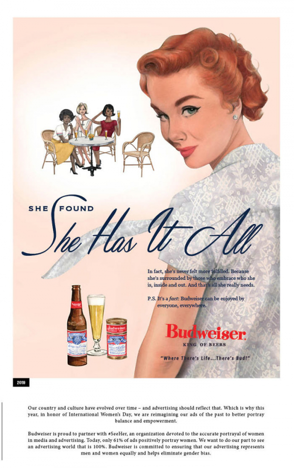 in honor of the women budweiser revisits their sexist advertisements of the 50s 5c8586df6ac12 700