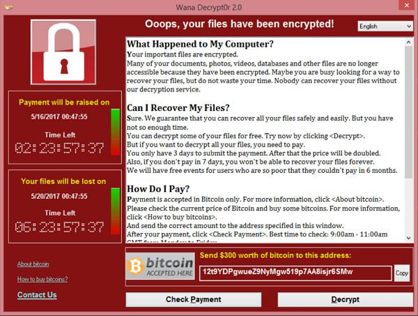 wana decrypt0r screenshot