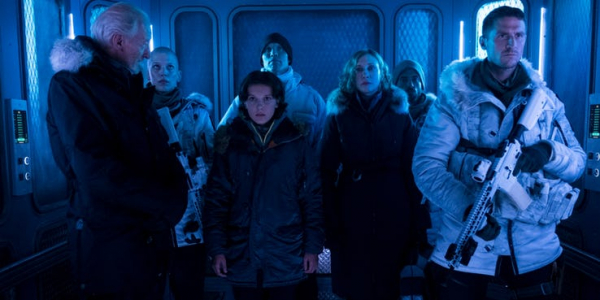 charles dance millie bobby brown and vera farmiga in godzilla king of the monsters