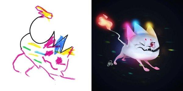 artists transform kids doodles art monsters0