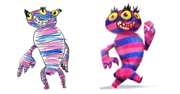artists transform kids doodles art monsters1