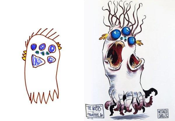 artists transform kids doodles art monsters10