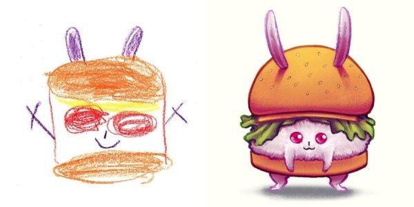 artists transform kids doodles art monsters11
