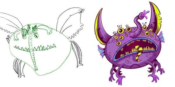 artists transform kids doodles art monsters16