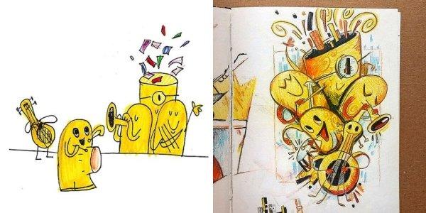 artists transform kids doodles art monsters17