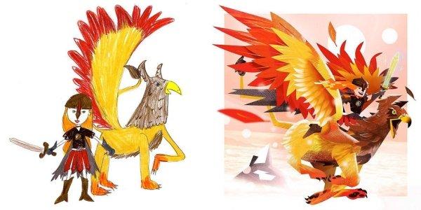 artists transform kids doodles art monsters22