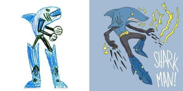 artists transform kids doodles art monsters24