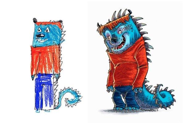artists transform kids doodles art monsters25