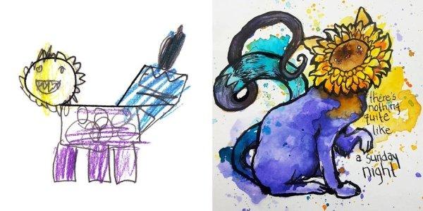 artists transform kids doodles art monsters3