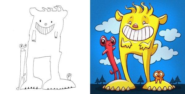 artists transform kids doodles art monsters4