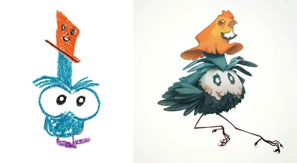 artists transform kids doodles art monsters7