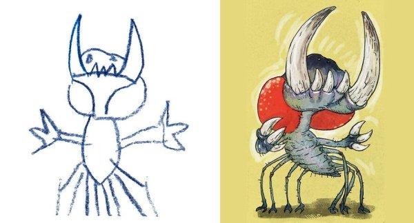 artists transform kids doodles art monsters8