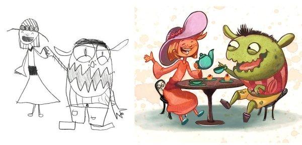 artists transform kids doodles art monsters9