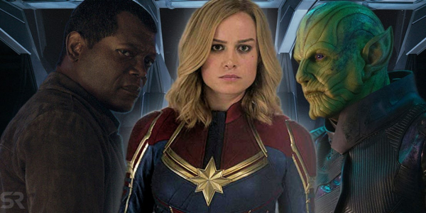 captain marvel with nick fury and talos