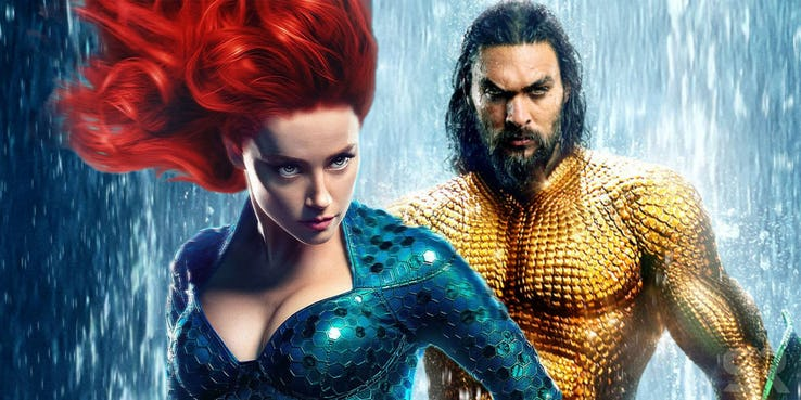 jason momoa as aquaman and amber heard as mera
