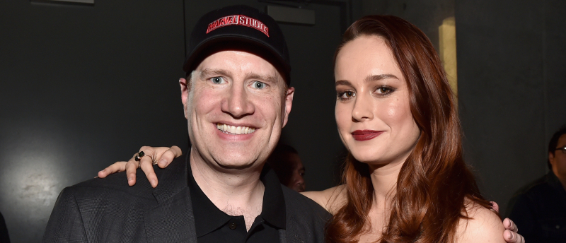 kevin feige and brie larson at marvel comic con 2016