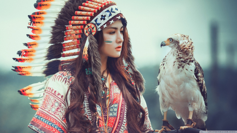 native american girl with eagle wallpaper 1366x768