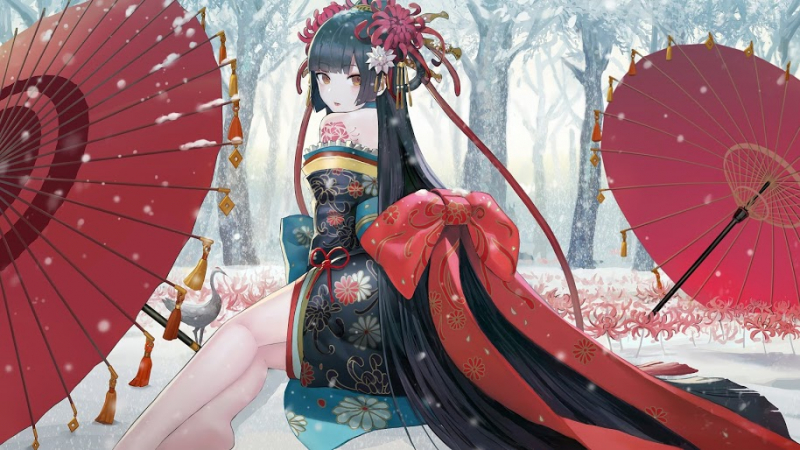 anime girl kimono snow field 35 4k