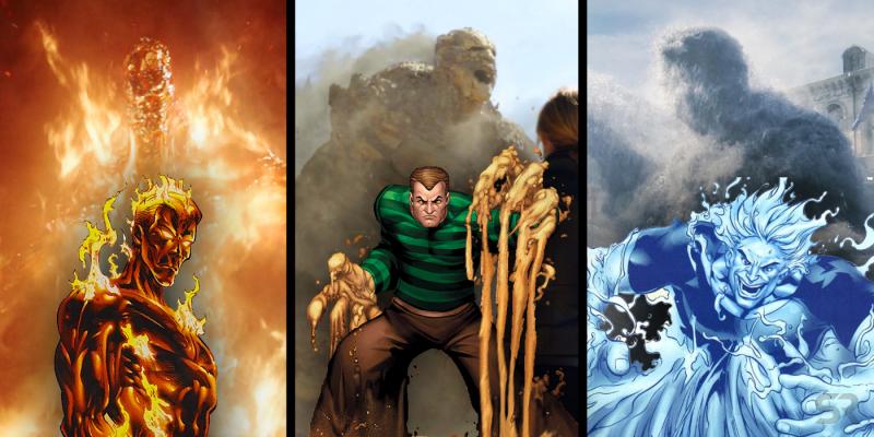 spider man far from home elemental villains sandman molten man hydro man