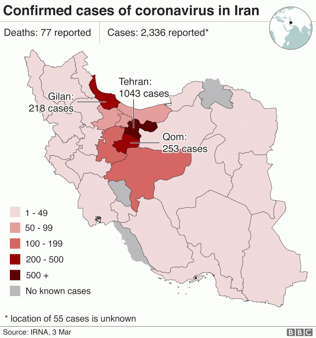 Map showing number of confirmed Covid-19 cases in Iran (3 March 2020)