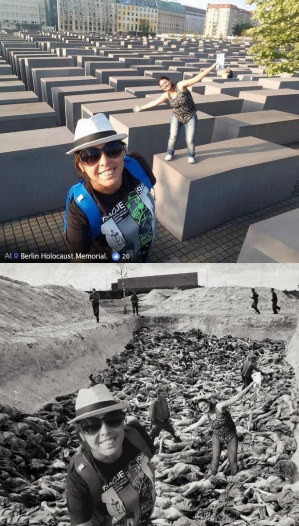 Nam nghệ sĩ dùng Photoshop để chỉ trích những bức ảnh vô duyên của du khách tại Đài Tưởng Niệm Do Thái