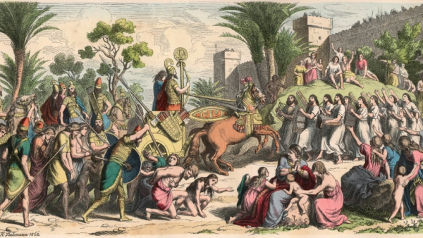 reception of a victorious general in mesopotamia