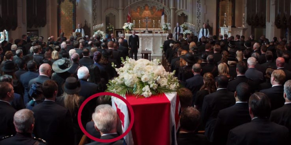 old captain america at peggy carters funeral in civil war with circle