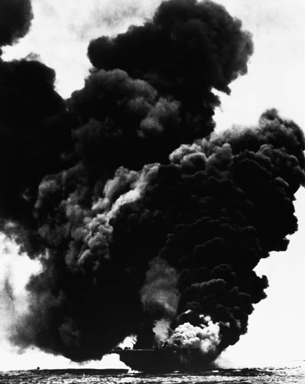black smoke over ship