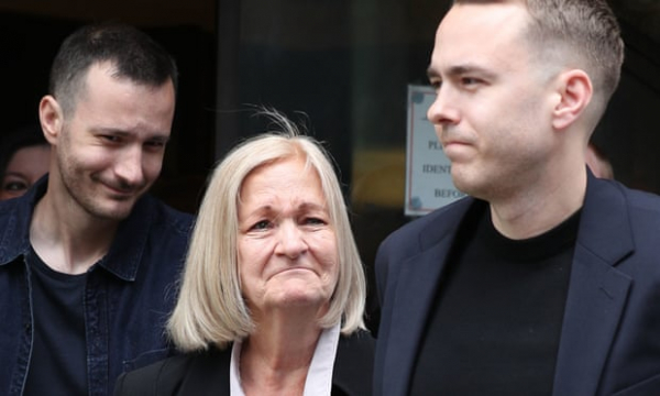sally challen flanked by her sons james left and david leaving the old bailey after hearing she will not face a retrial photograph yui mok pa